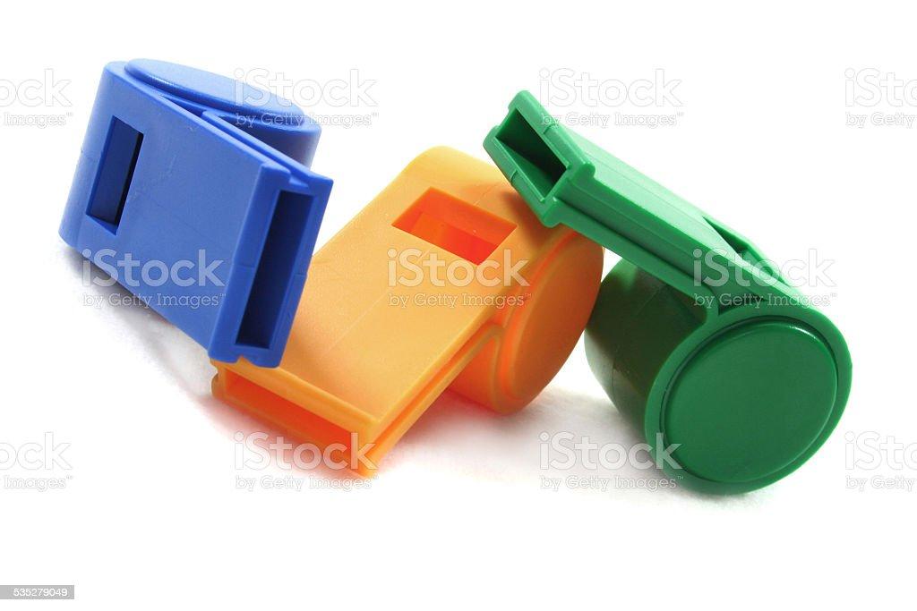 three whistles stock photo