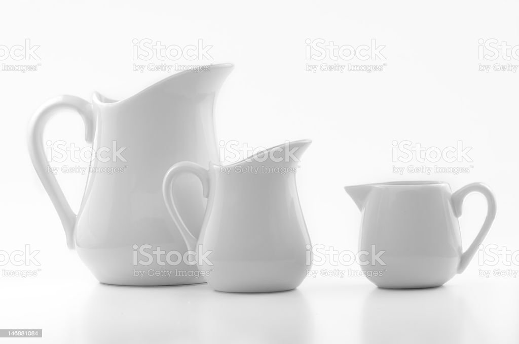 three white ceramic jugs royalty-free stock photo