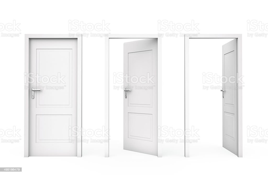 Three white doors stock photo