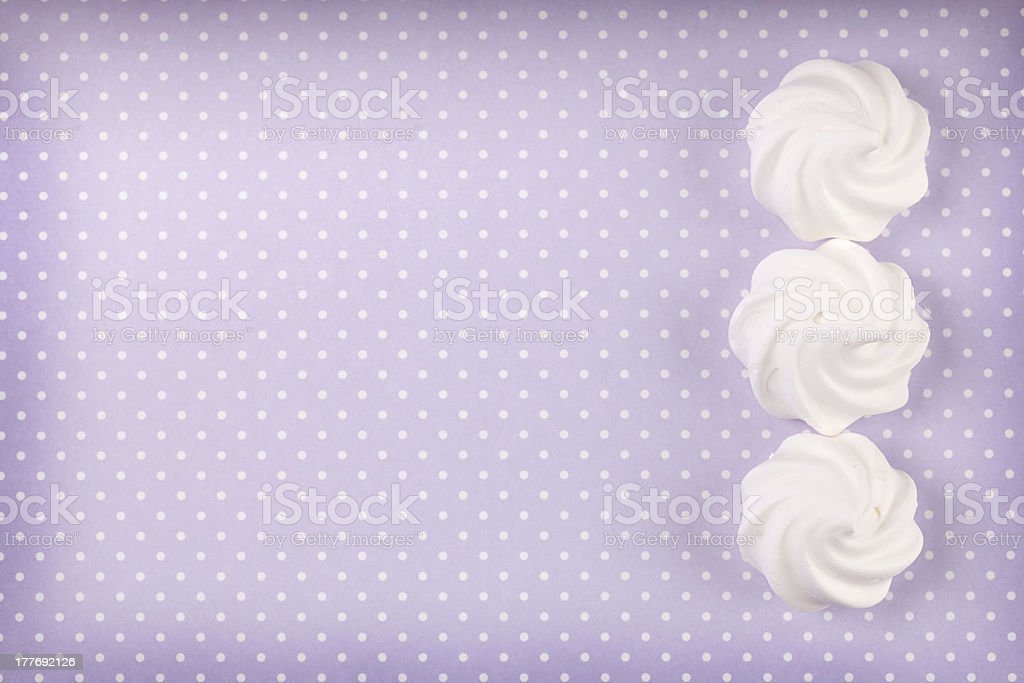Three white meringue shells royalty-free stock photo