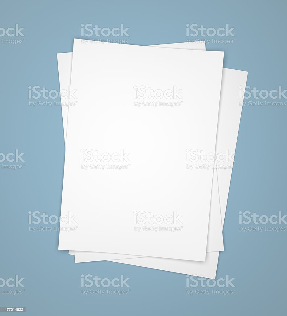 Three white paper sheets on blue stock photo