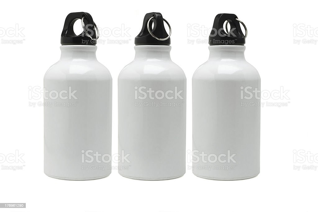 Three white water containers stock photo