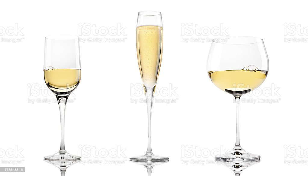 Three White Wines royalty-free stock photo