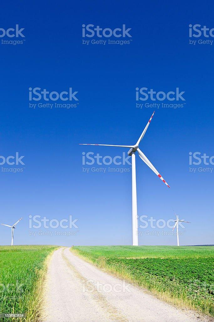 three wind turbines royalty-free stock photo