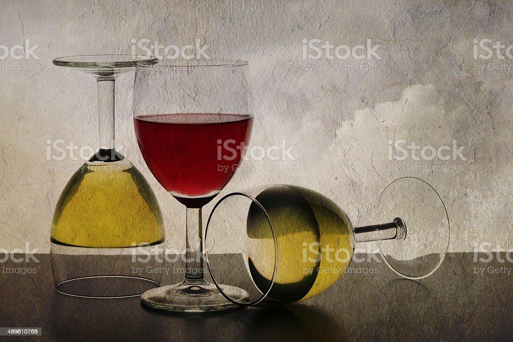 Three wine glasses still-life.  Aka Every which way and up. stock photo