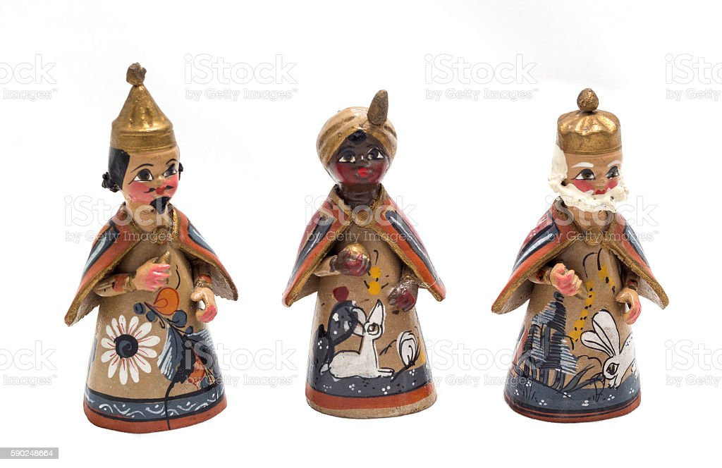 three wise kings figures stock photo