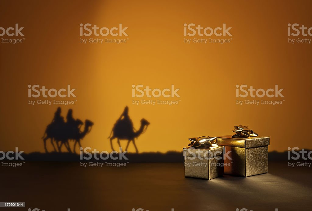 Three wise men and presents royalty-free stock photo