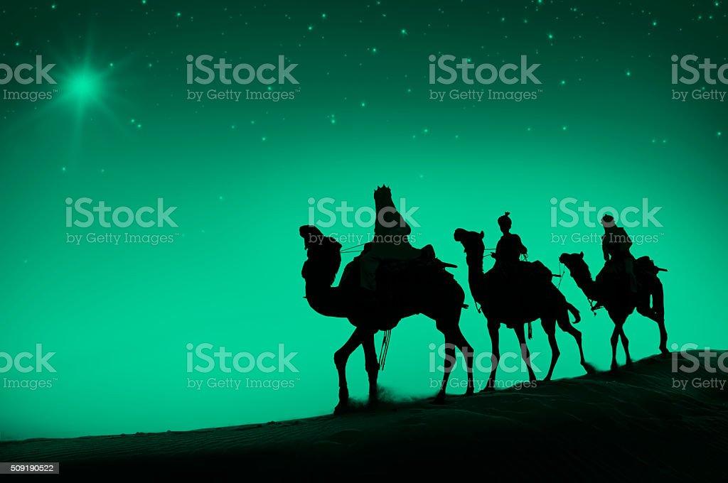 Three Wise Men Camel Travel Desert Bethlehem Concept stock photo