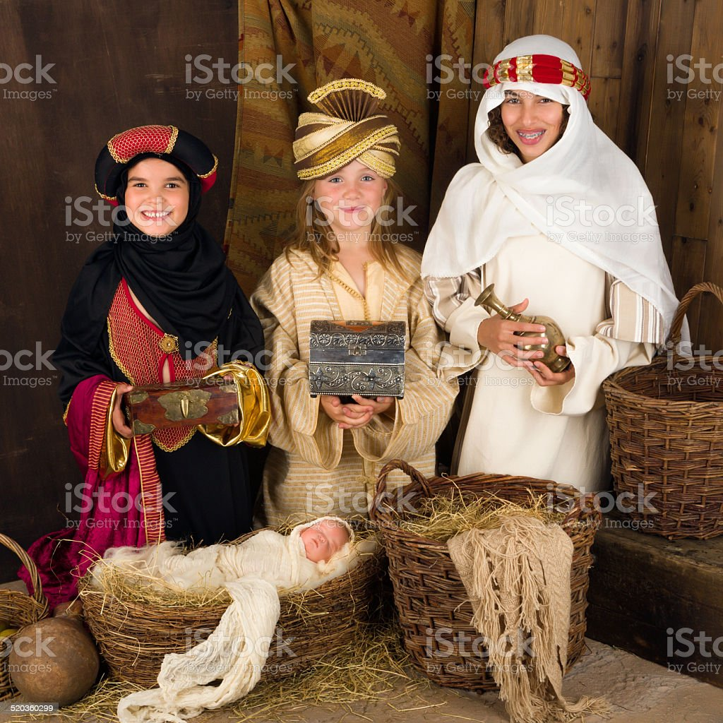 Three wise men in nativity scene stock photo