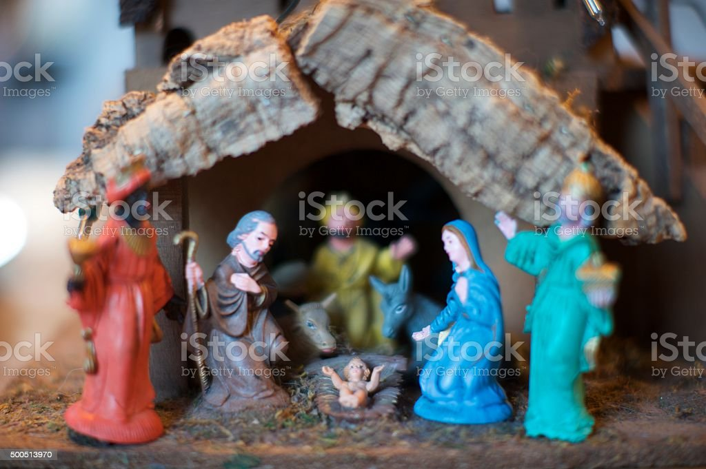 Three wise men visiting jesus stock photo