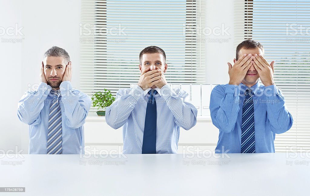 Three wise monkey - business concept stock photo