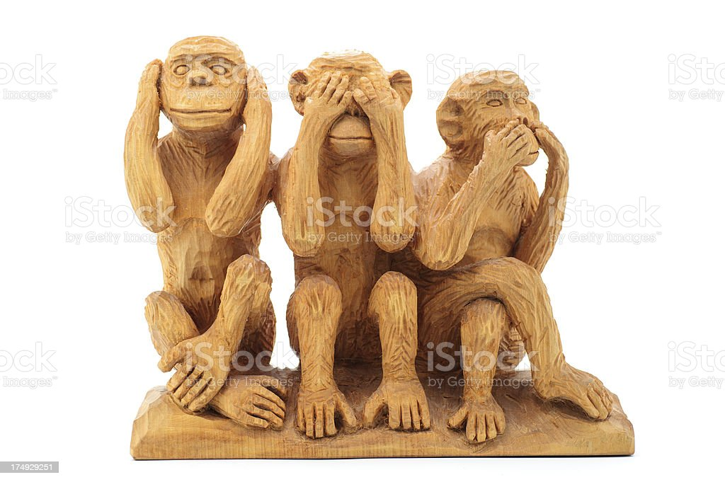 Three Wise Monkeys - Handmade stock photo
