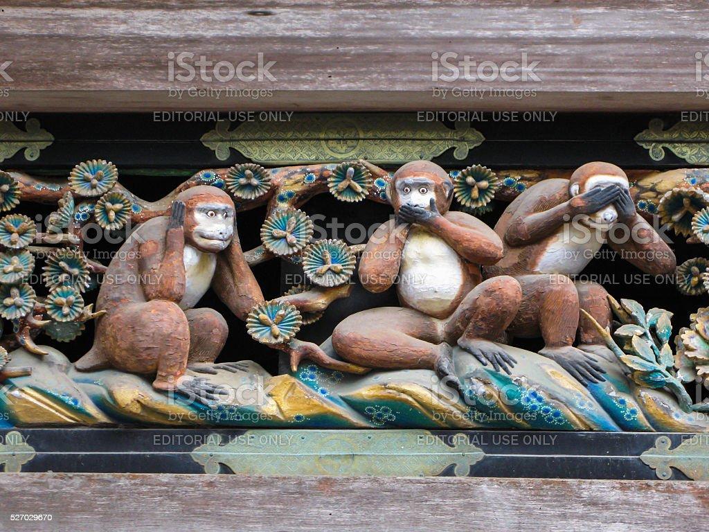 Three  Wise  Monkeys,  Nikko, Japan. stock photo