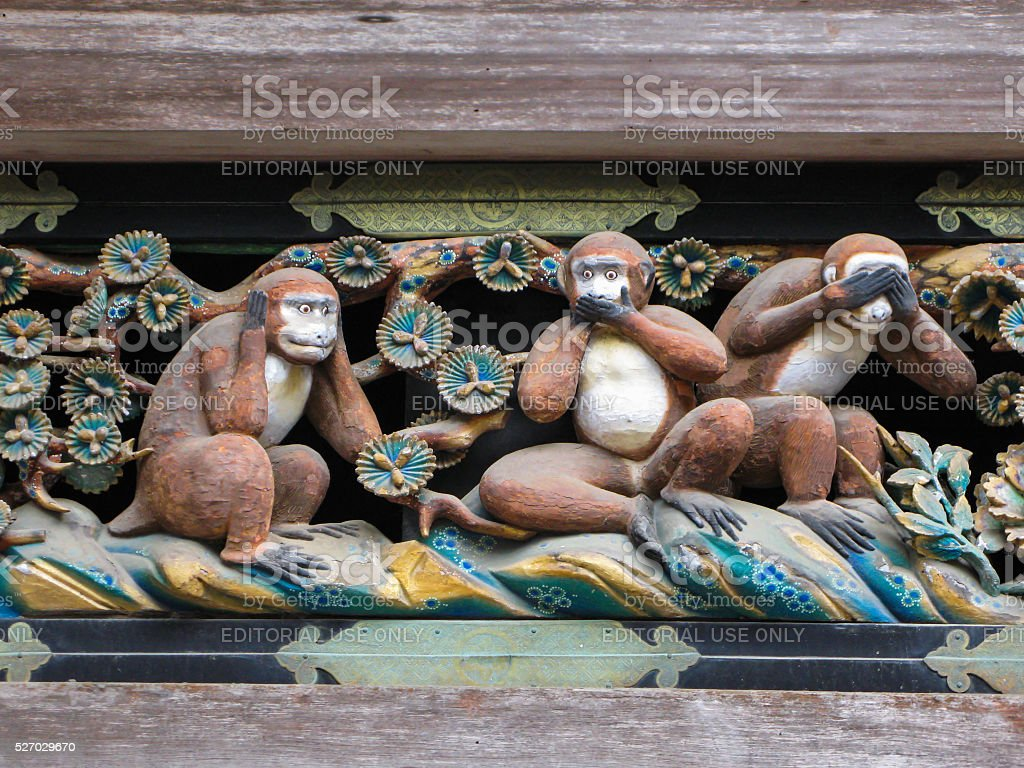 Three  Wise  Monkeys,  Nikko, Japan. stock photo