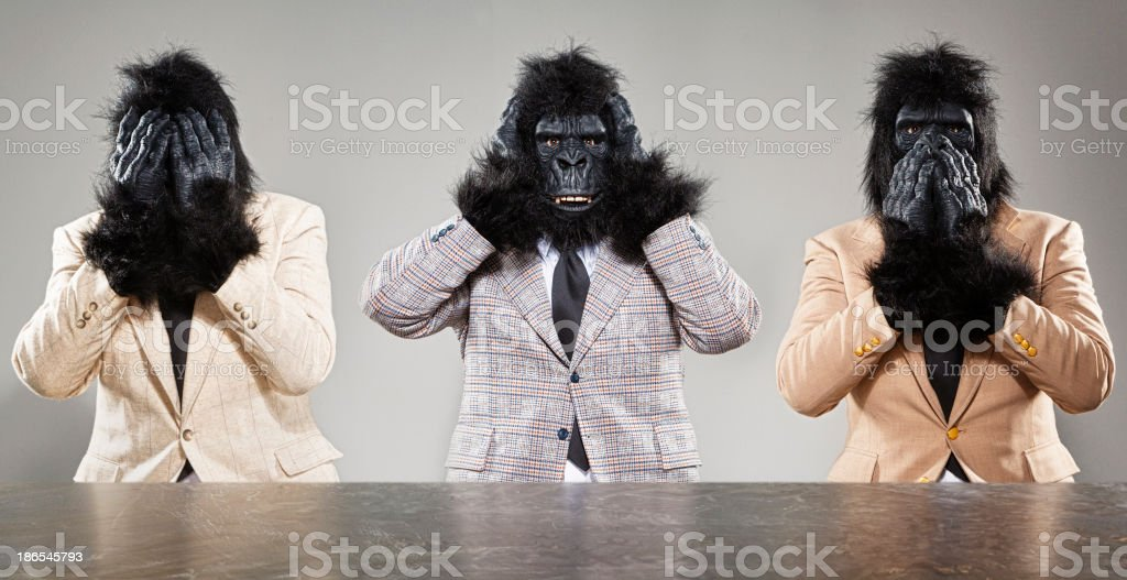Three Wise Monkeys stock photo