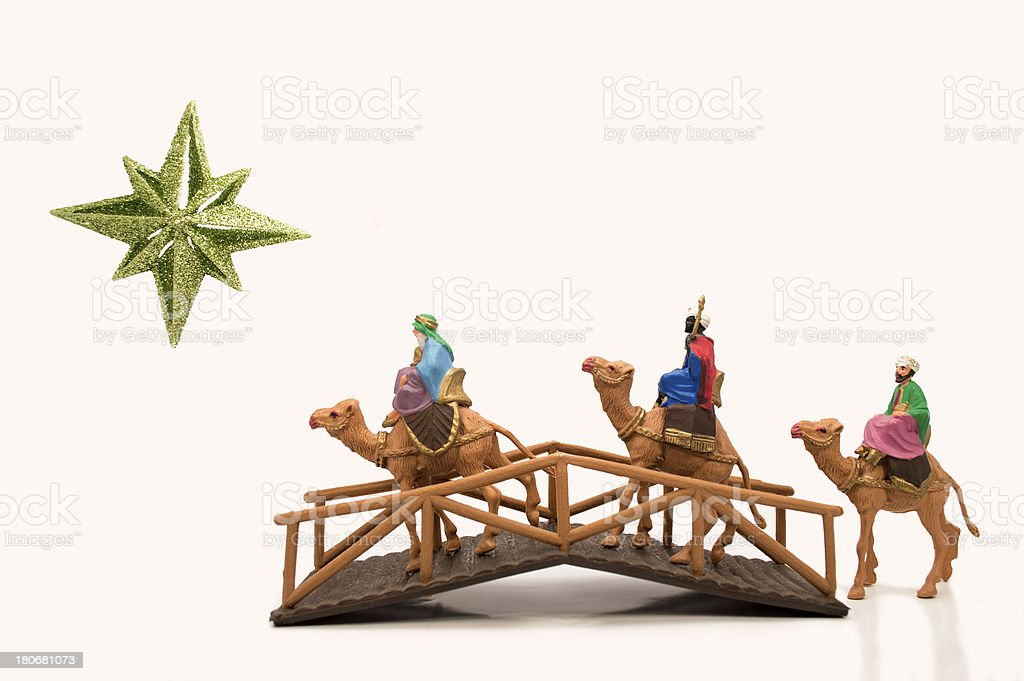 three wisemen crossing a bridge royalty-free stock photo