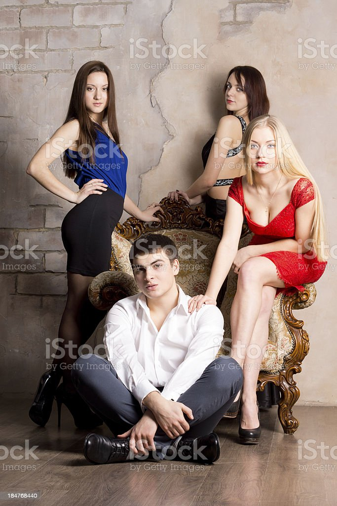 Three women and man royalty-free stock photo