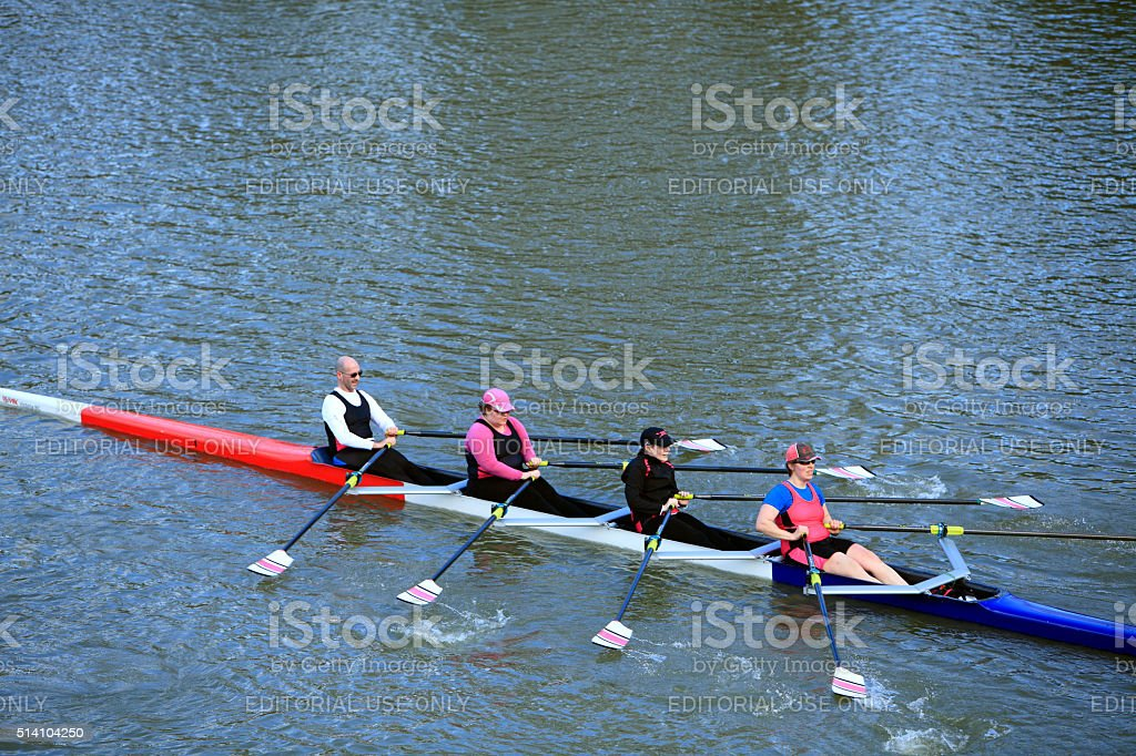 Three Women And One Male Rowing In The Local Regatta stock photo