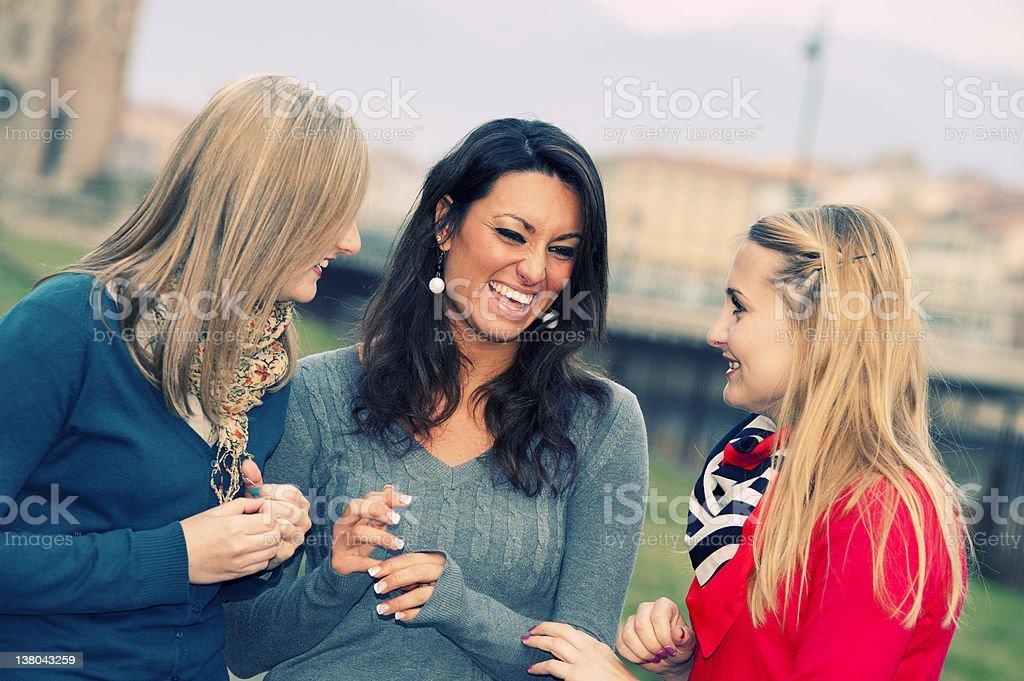 Three Women Chatting Outdoor royalty-free stock photo