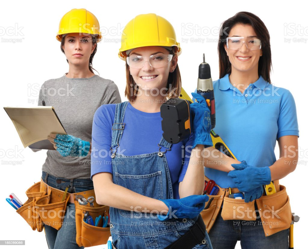 Three Women Construction Contractor Carpenters Isolated on White Background stock photo