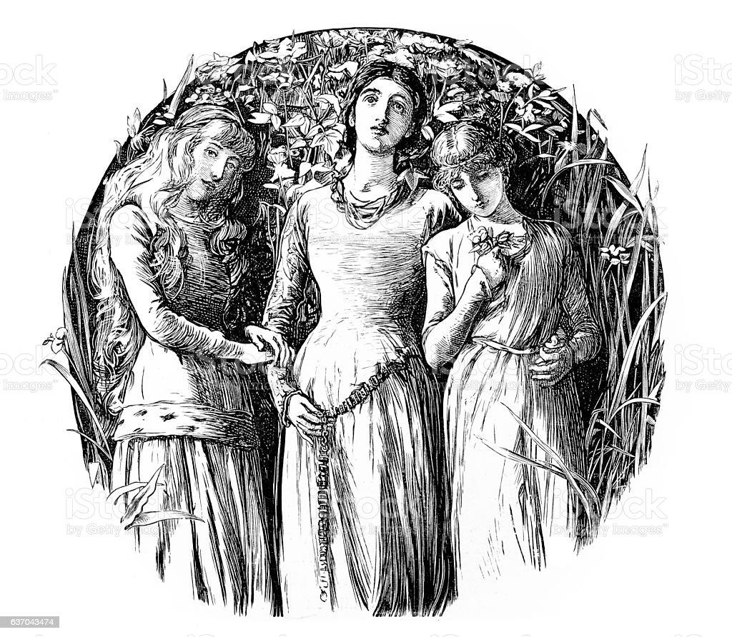 Three women holding a white rose stock photo