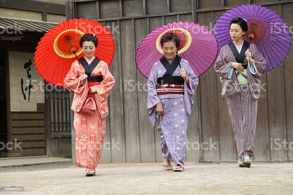 Three women in 17century Japan stock photo