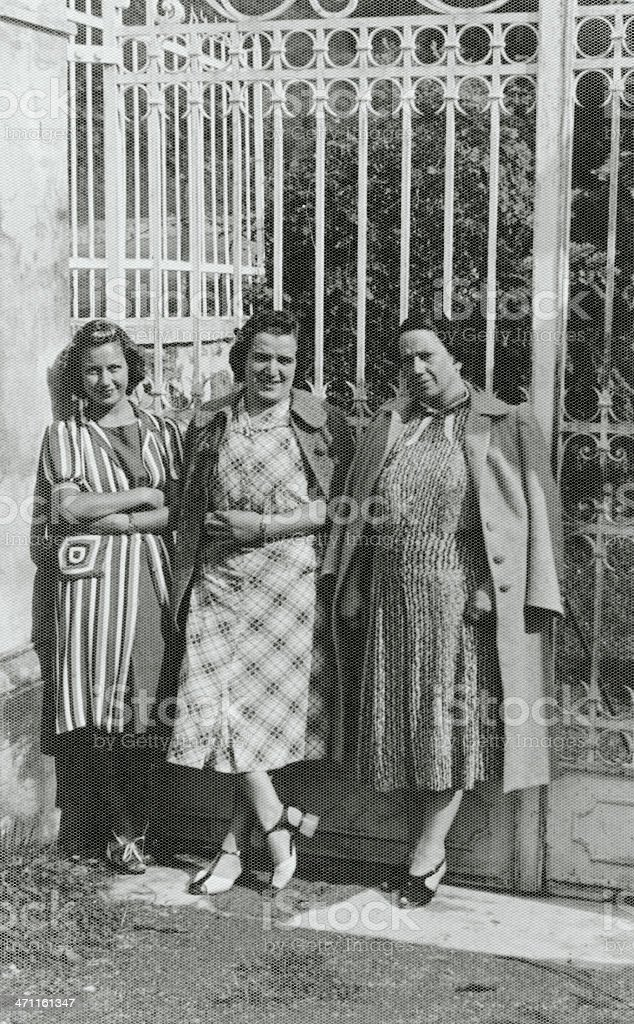Three Women in a Road.1931,Black And White royalty-free stock photo