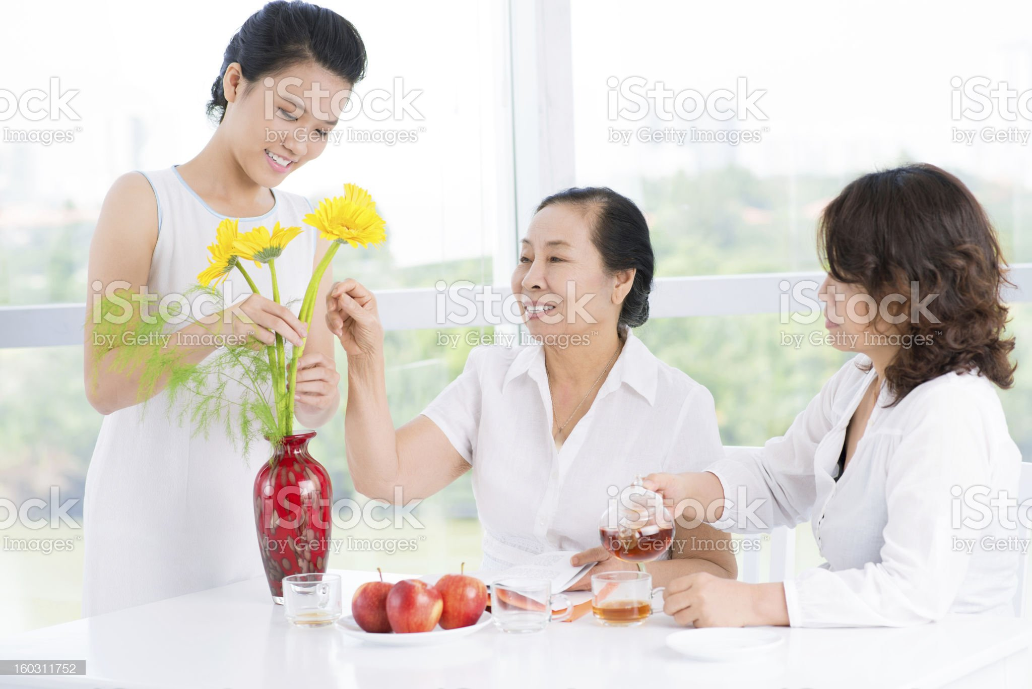 Three women in the room royalty-free stock photo