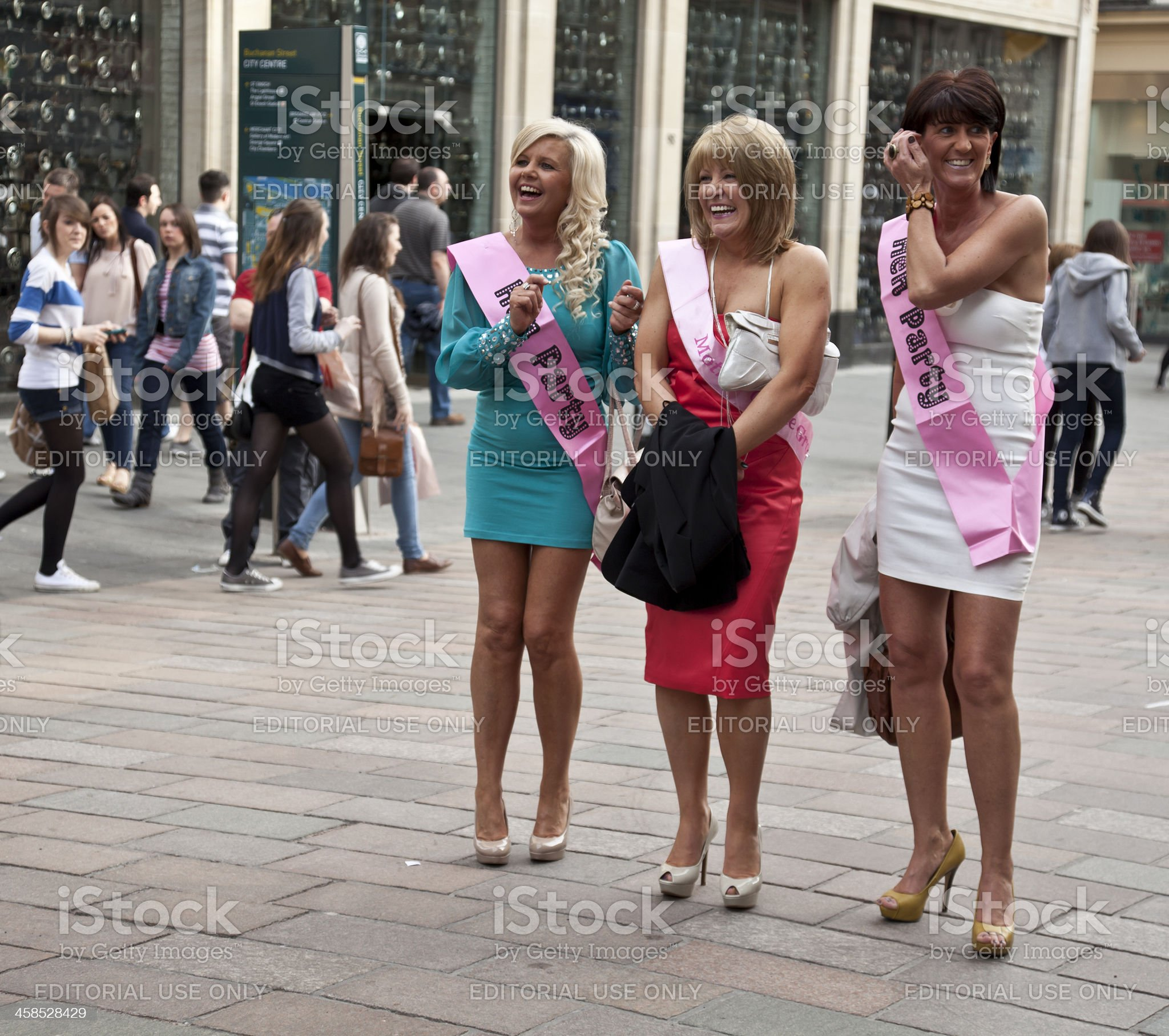 Three women on a Hen Night in central Glasgow royalty-free stock photo