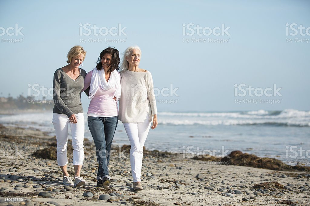 Three women strolling on a beach. stock photo