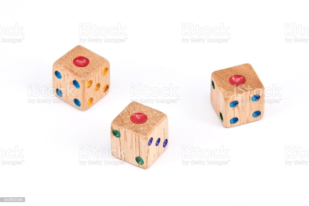 Three wood dices show one point stock photo