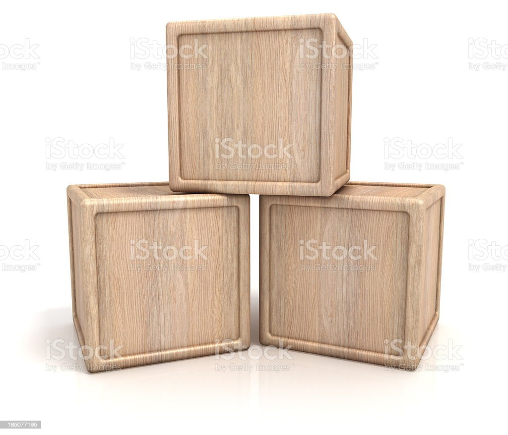 Three wooden blocks stock photo