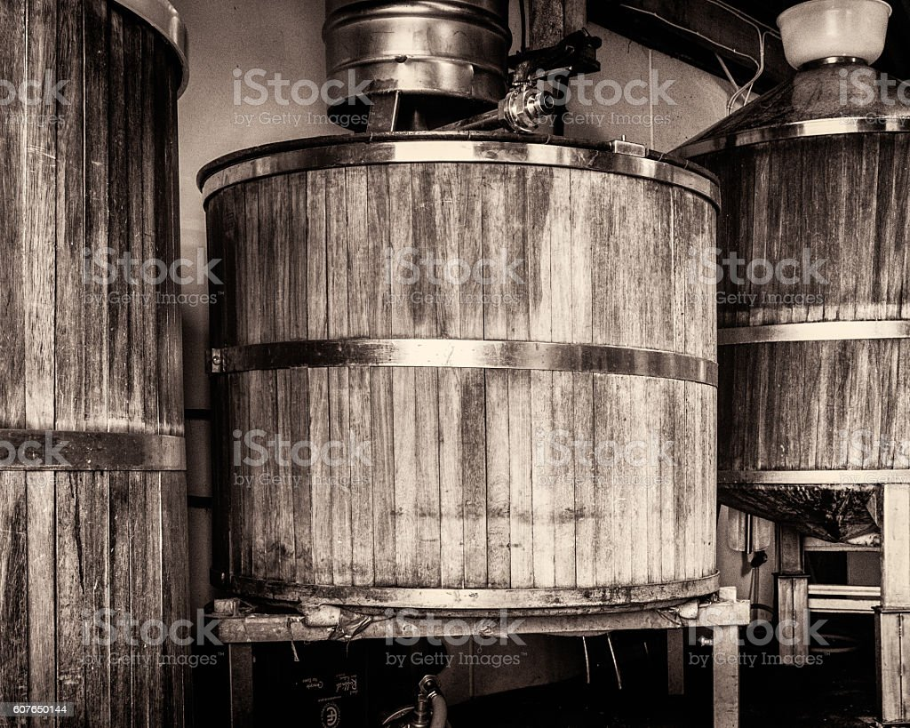 Three Wooden Brewing Vats stock photo