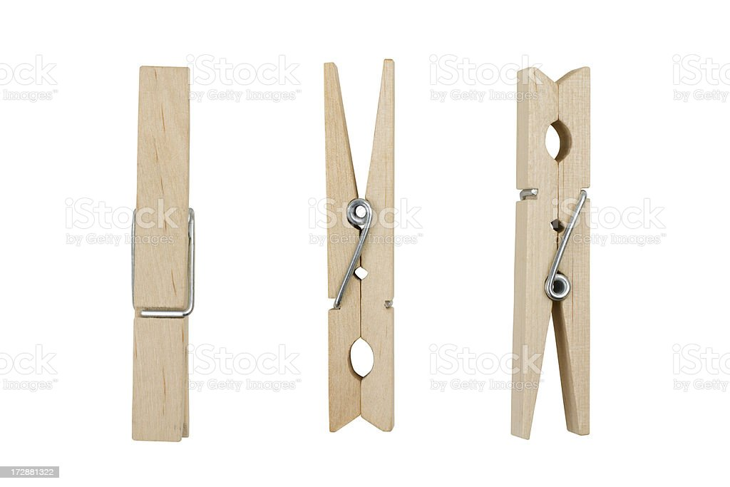 Three Wooden Clothespins stock photo