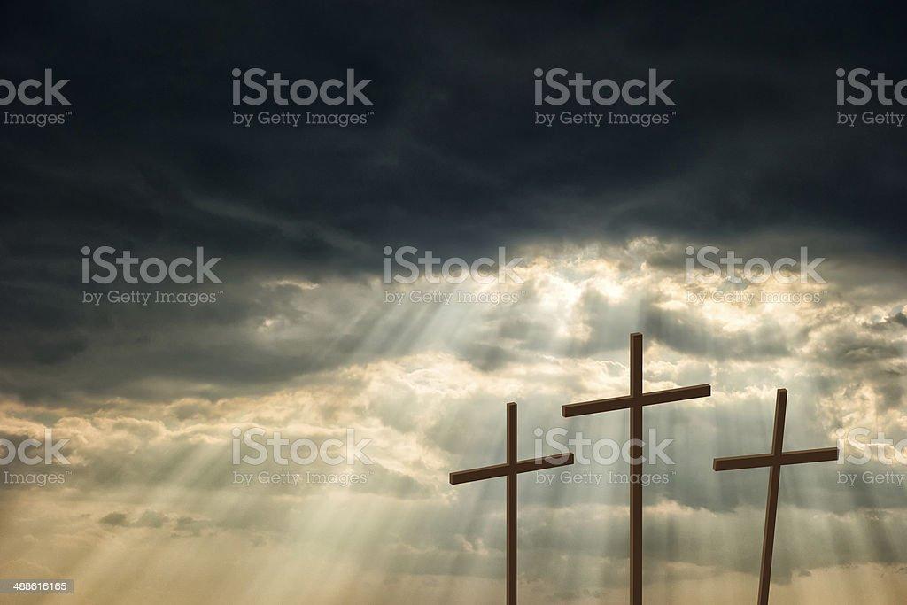Three wooden crosses royalty-free stock photo