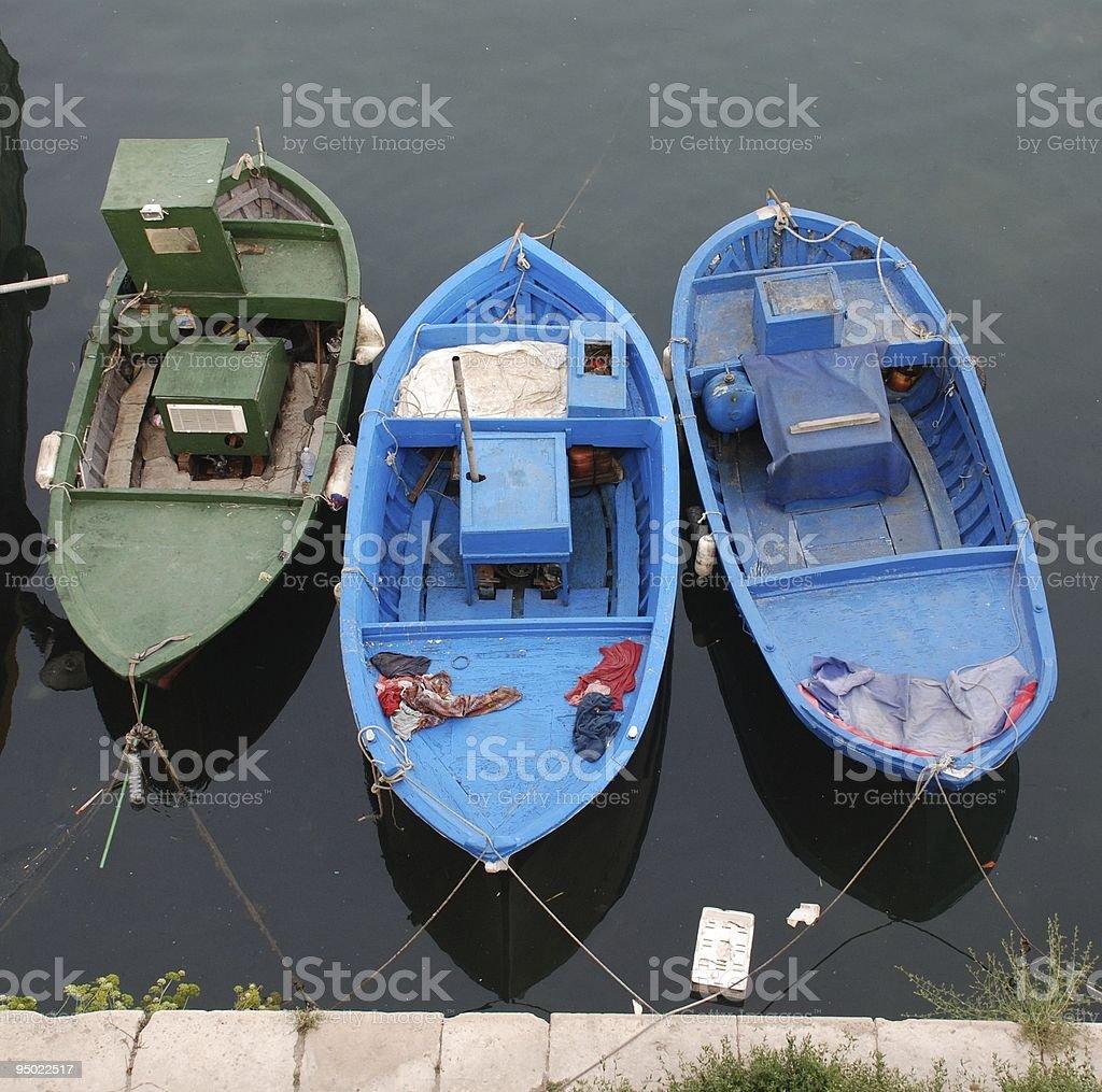 Three Wooden Fishing Boats stock photo