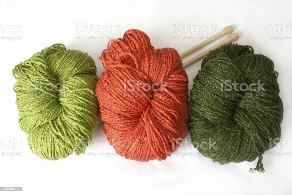 Three wool yarn balls royalty-free stock photo