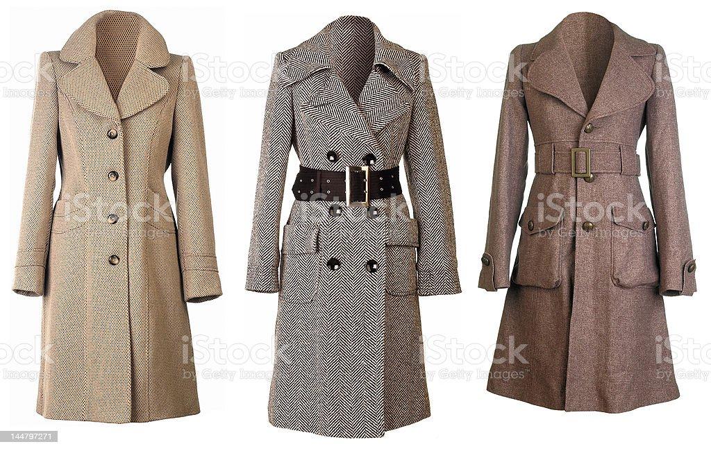 Three woolen Coats cut out stock photo