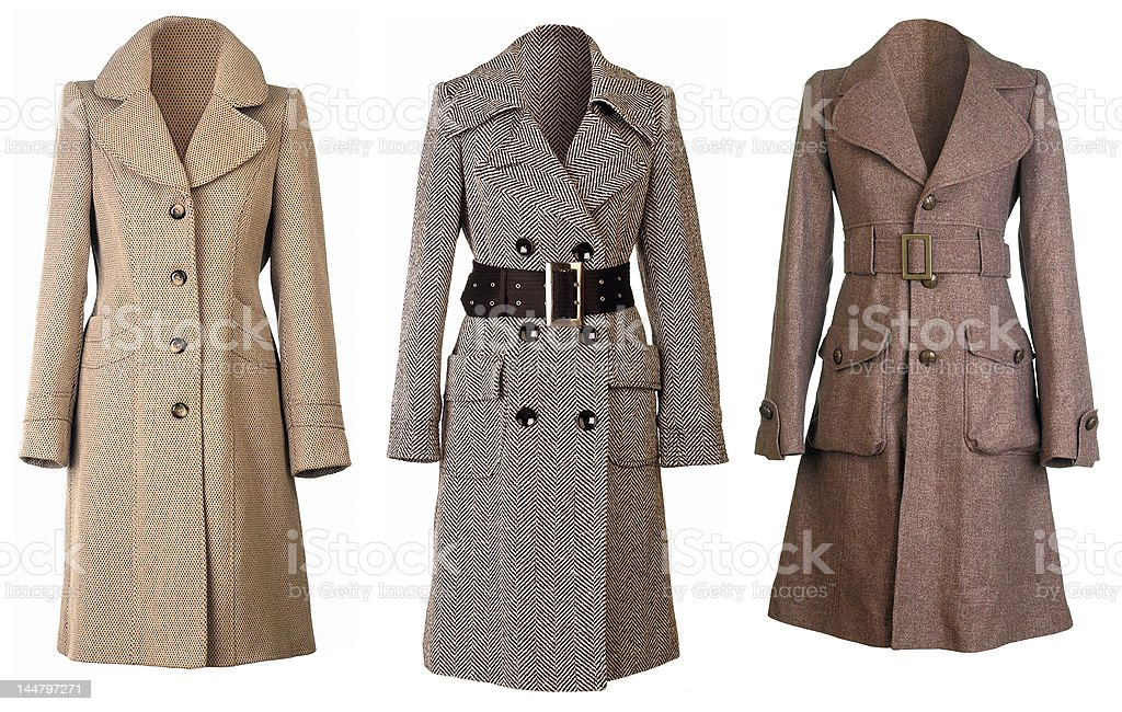 Three woolen Coats cut out stock photo