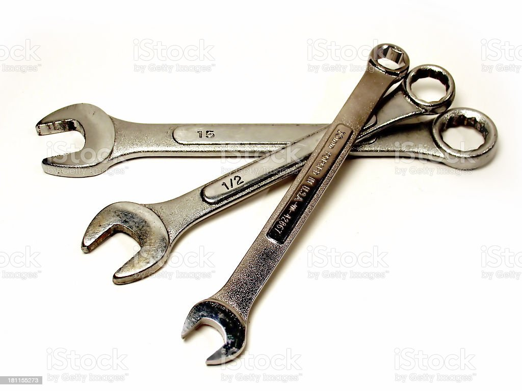 Three Wrenches of Different Sizes - Isolated royalty-free stock photo