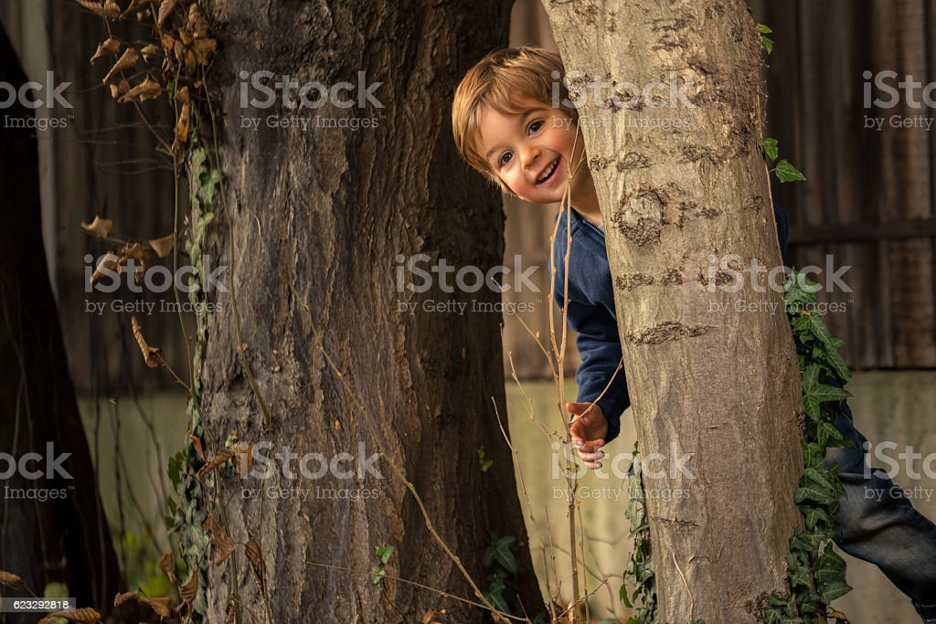 three year old boy playing hide and seek behind tree stock photo