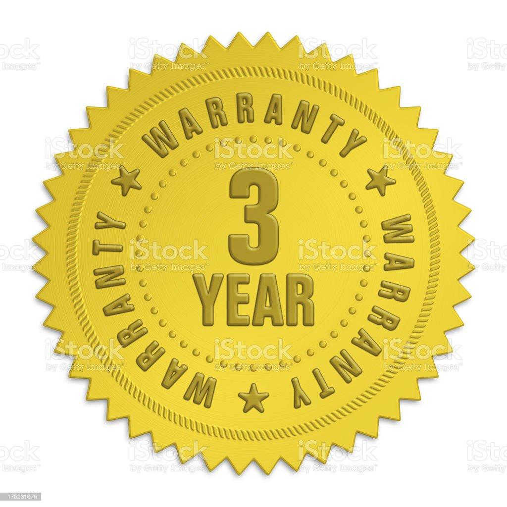 three year warranty label royalty-free stock photo