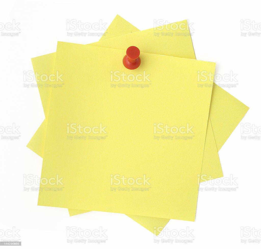 three yellow sticky notes stock photo