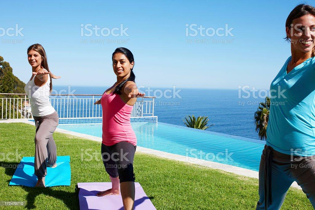 Three yoga masters royalty-free stock photo