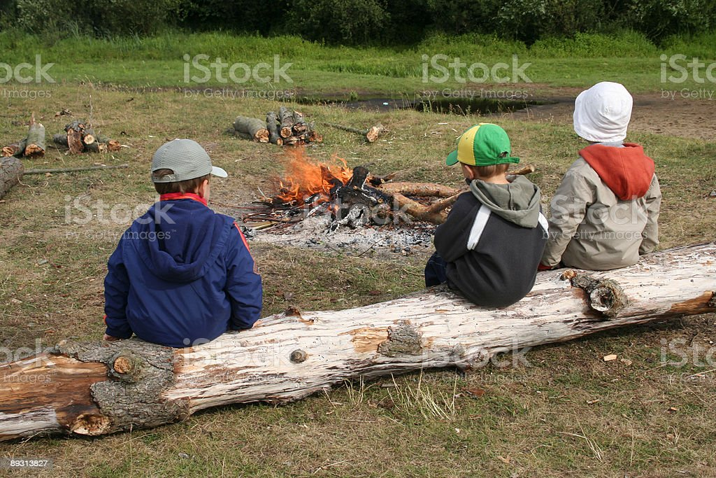 Three young boys sit outdoors on a log near a campfire stock photo