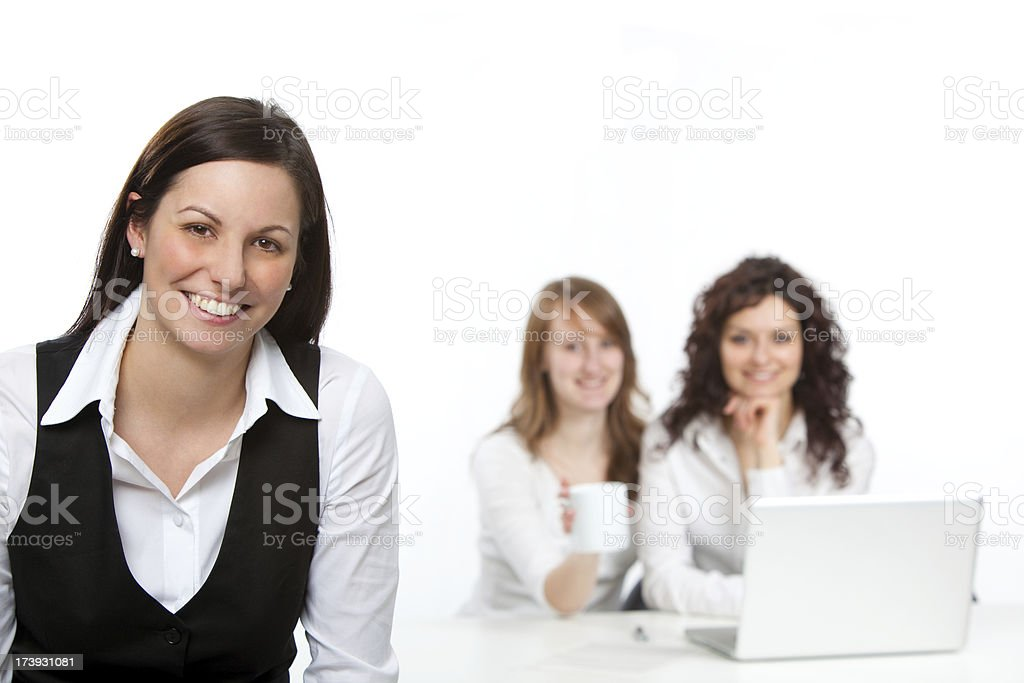 three young business girls team isolated on white royalty-free stock photo