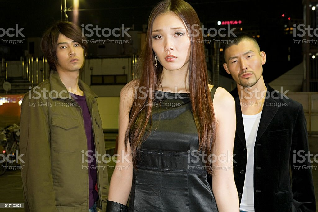 Three young japanese people stock photo
