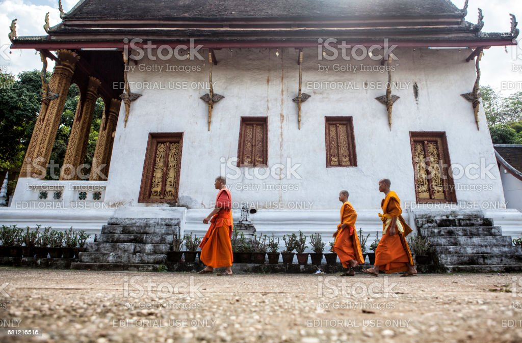 Three young monks are walking in the monastery courtyard, Luang Prabang, Laos stock photo