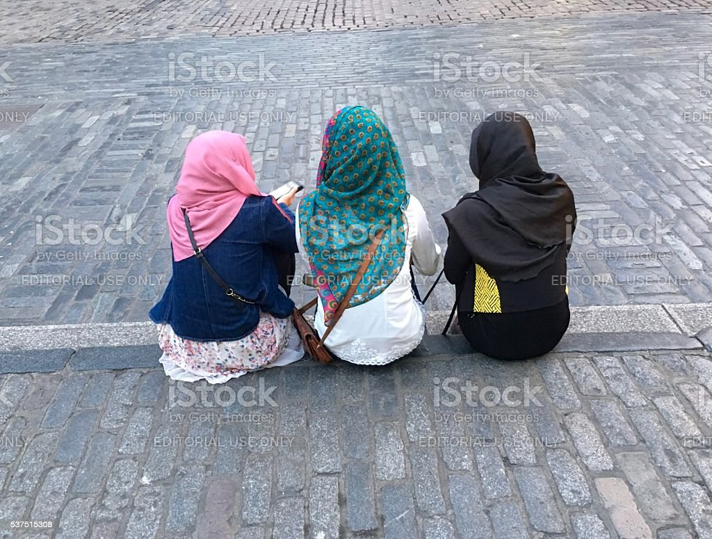 Three young muslim girls stock photo