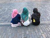 Three young muslim girls